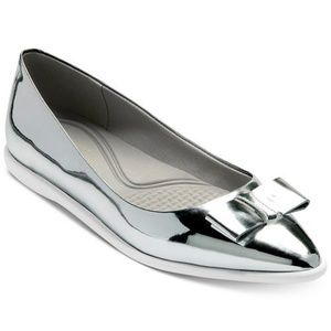 NIB Cole Haan Zerogrand Silver Bow Skimmer Flats